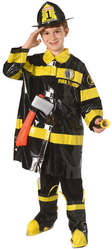 Child's Cheap Black Fireman Costume