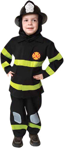 Child's Black Fireman Costume