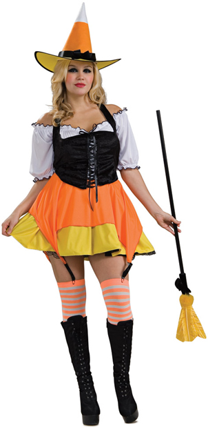 Sexy Plus Size Candy Corn Witch Costume