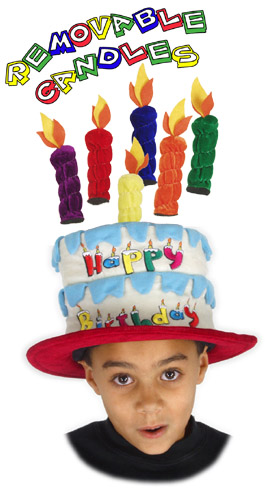 Childs Birthday Hat W Removable Candles