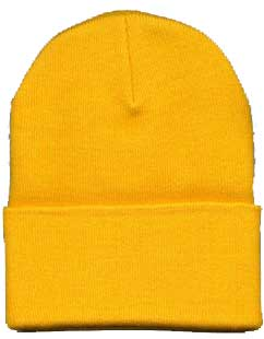 Beanie Ski Cap Hat in Gold Yellow
