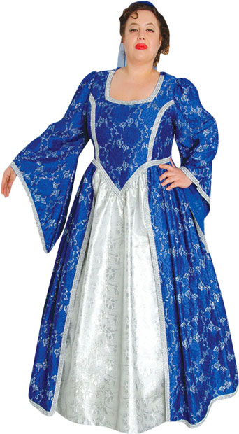 Plus Size Blue Renaissance Maiden Theater Costume