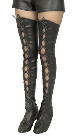 Women's Leatherette Lace-Up Thigh High Boot Covers
