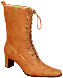 Women's Tan Lace-Up Granny Boots