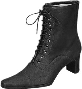 Women's Black Velvet Lace-Up Granny Boots