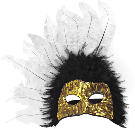 Black & White Feather Gold Sequin Half Mask