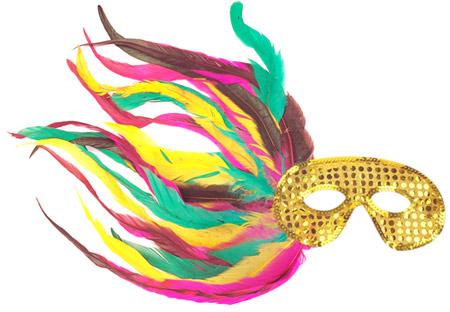 Gold Sequin Side Feather Eye Mask