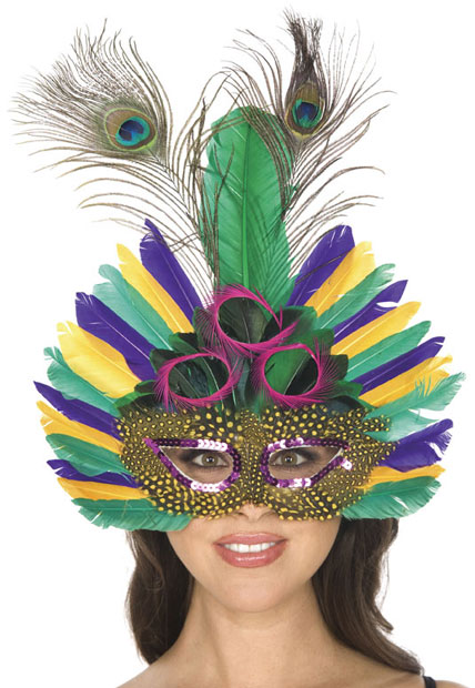 Deluxe Mardi Gras Feather Eye Mask