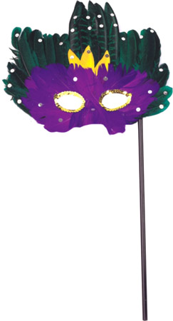Mardi Gras Feather Stick Mask