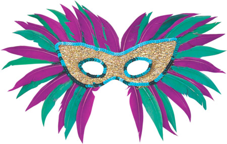 Sequin Feather Mardi Gras Eye Mask