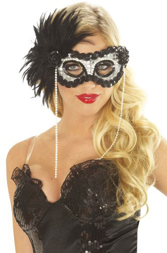 Women's Onyx Pearl Feather Eye Mask