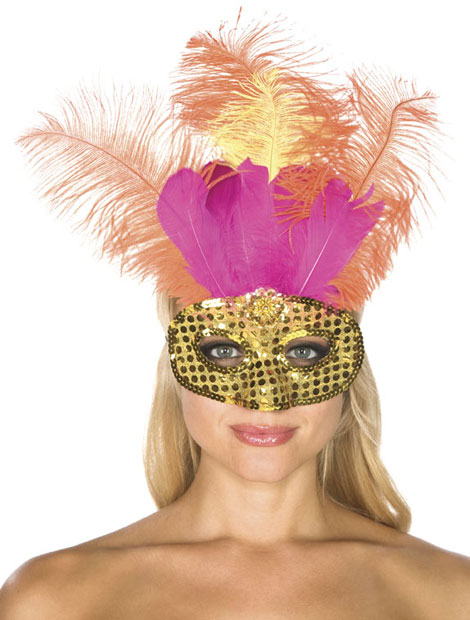 Gold Sequin Carnival Eye Mask with Feathers