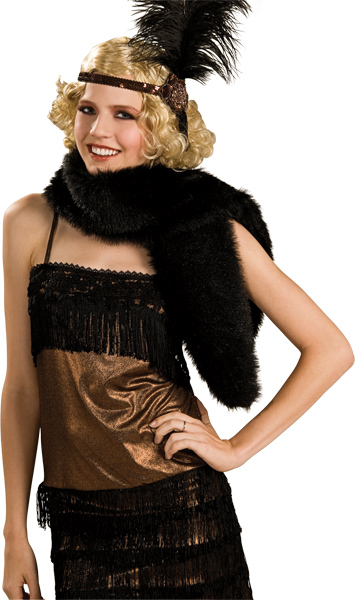 Black Costume Fur Stole