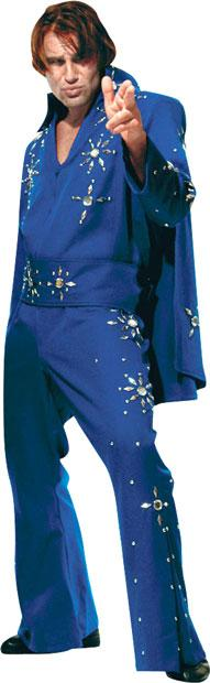 Blue Elvis Jumpsuit & Cape Theater Plus Size Costume