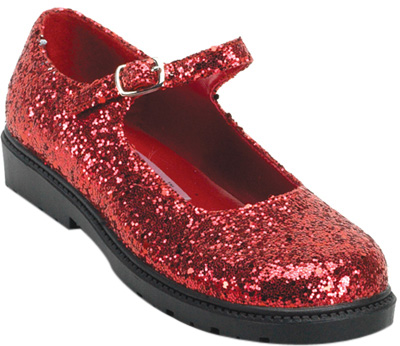 Child's Red Glitter Mary Jane Shoes