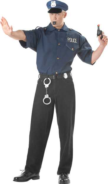 Adult Cop Shirt And Hat Costume
