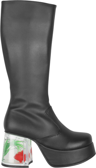 Women's Black Gold Fish Tank Go Go Boots