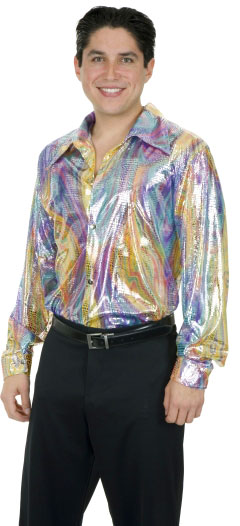 Adult 70's Disco Snake Lame Shirt