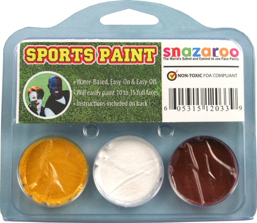 Yellow, White, Burgundy Face Paint Kit for Sports Fans