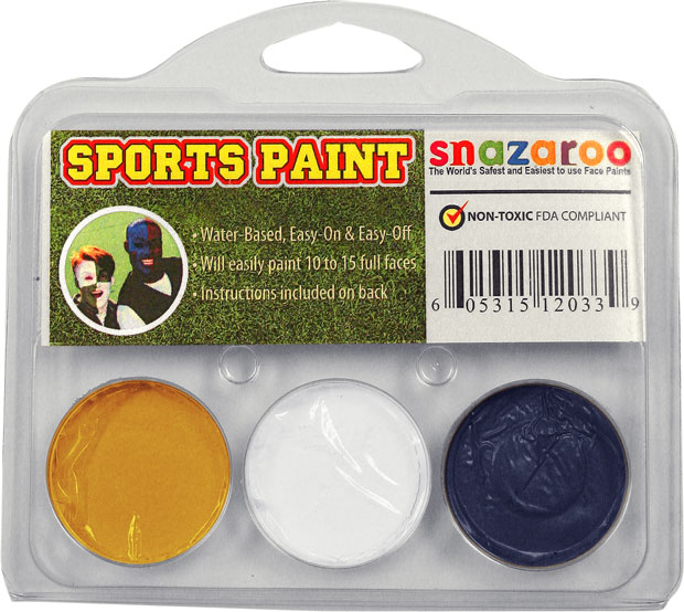 Yellow, White, Dark Blue Face Paint Kit for Sports Fans