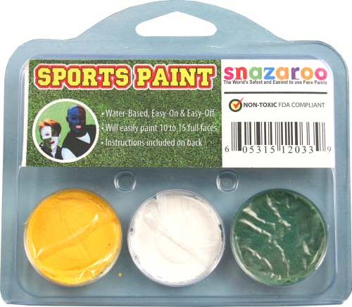 Yellow, White, Green Face Paint Kit for Sports Fans