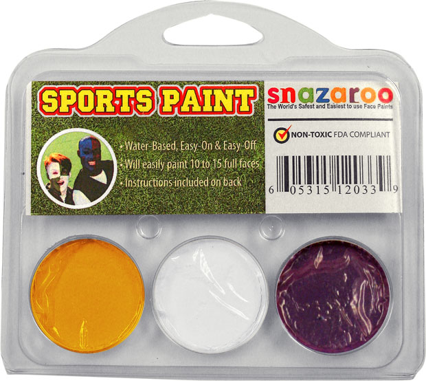 Yellow, White, Purple Face Paint Kit for Sports Fans