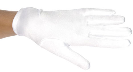 Child's White Polyester Costume Gloves