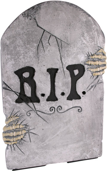Fake Tombstone w/ Skeleton Hands