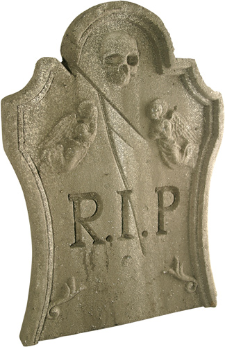 Weathered Halloween Tombstone Prop w/ Skull & Angels