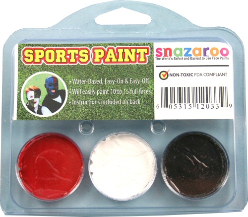 Bright Red, White, Black Face Paint Kit for Sports Fans
