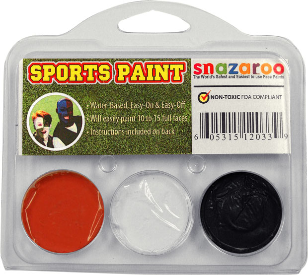 Orange, White, Black Face Paint Kit for Sports Fans