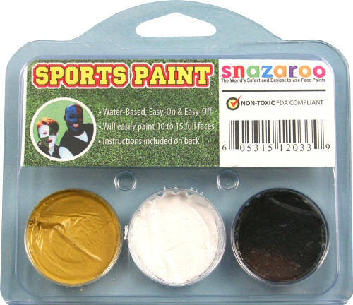 Gold, White, Black Face Paint Kit for Sports Fans