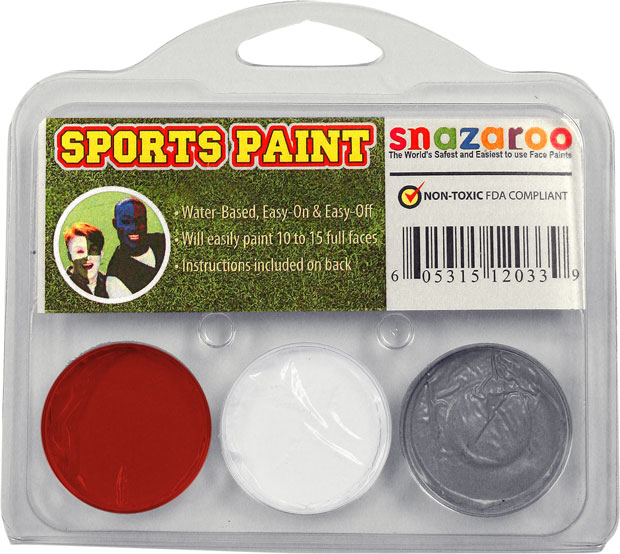 Red, White, Gray Face Paint Kit for Sports Fans
