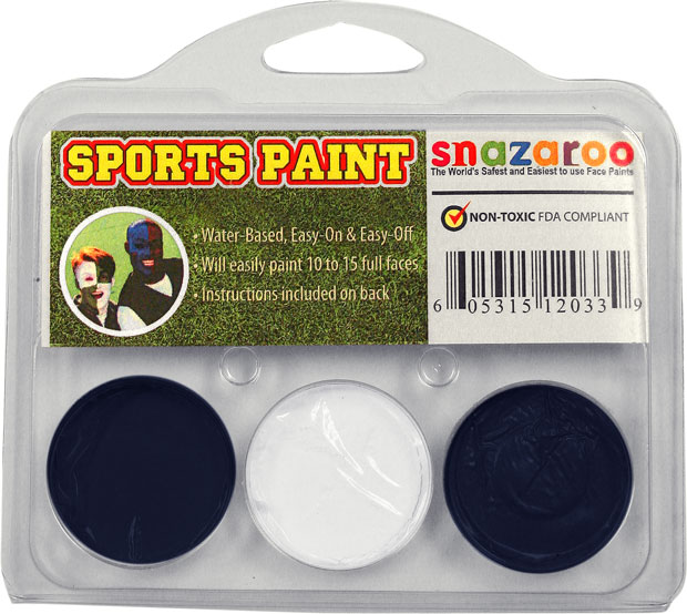 Dark Blue, White, Dark Blue Face Paint Kit for Sports Fans