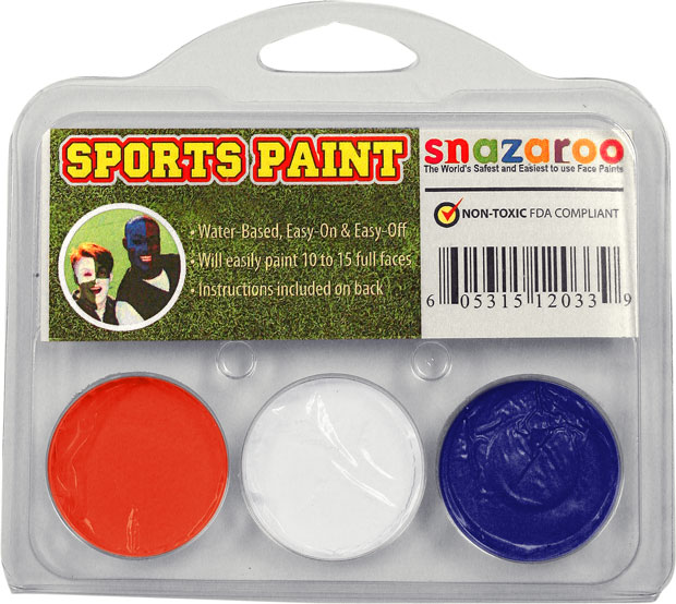 Burnt Orange, White, Royal Blue Face Paint Kit for Sports Fans
