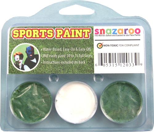 Grass Green, White, Grass Green Face Paint Kit for Sports Fans