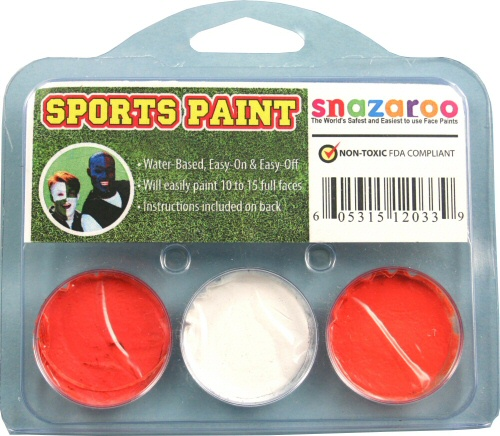Orange, White, Orange Face Paint Kit for Sports Fans