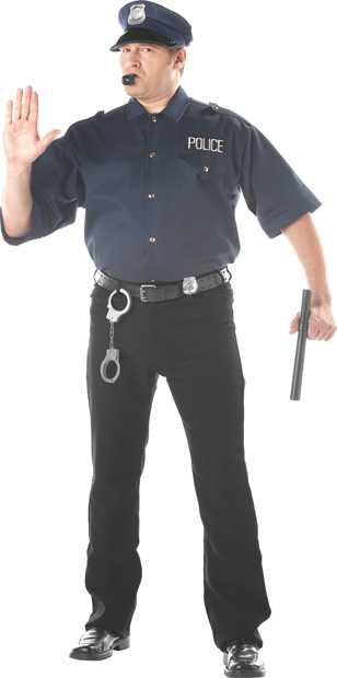 Adult Plus Size Cop Shirt And Hat Costume
