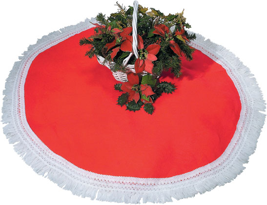 Red Tree Skirt with Fringe Trim