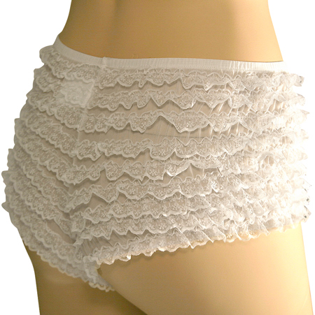 White Lace Ruffled Tanga Shorts