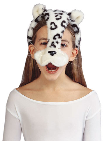 Child's Snow  Leopard Headband with Ears and Nose