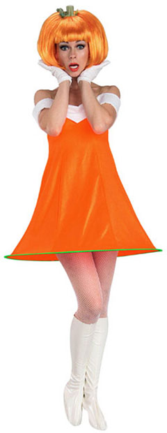 Adult Pumkin Dress w/ Wig Costume