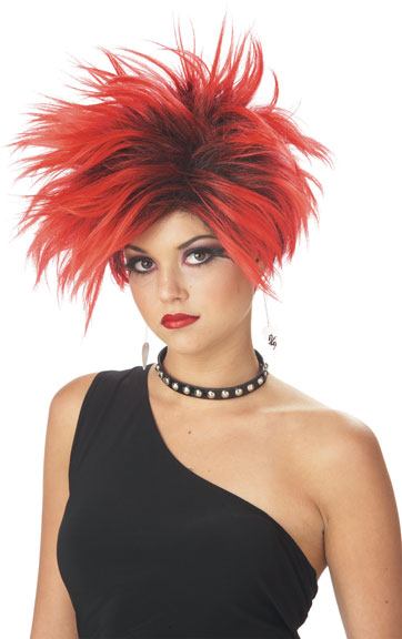 Red & Black Punk Frenzy Wig