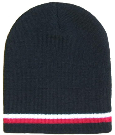 Black Beanie W/ Red & White Stripes