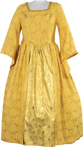Plus Size Gold Renaissance Maiden Theater Costume