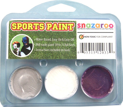 Silver, White, Purple Face Paint Kit for Sports Fans