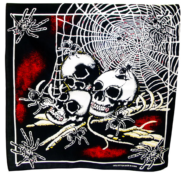 Skulls and Spiderwebs Black Bandanas