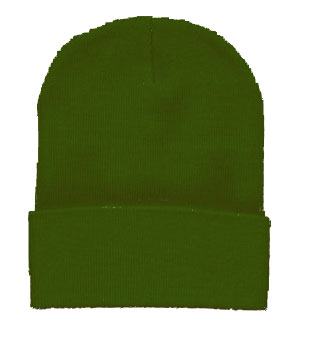 Beanie Ski Cap Hat in Olive Green