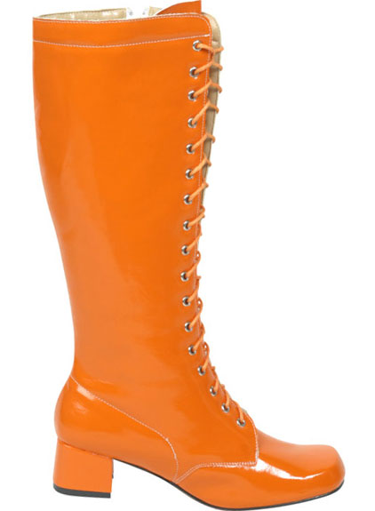 Women's Orange Lace-Up Zipper Go Go Boots