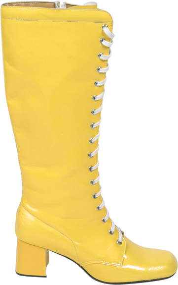 Women's Yellow Lace-Up Zipper Go Go Boots